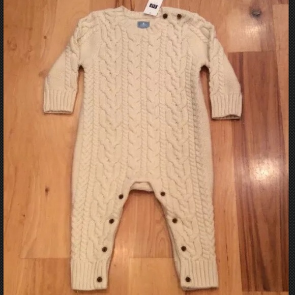c379105e6318 Baby Gap Boys Ivory Cable Knit Sweater Romper